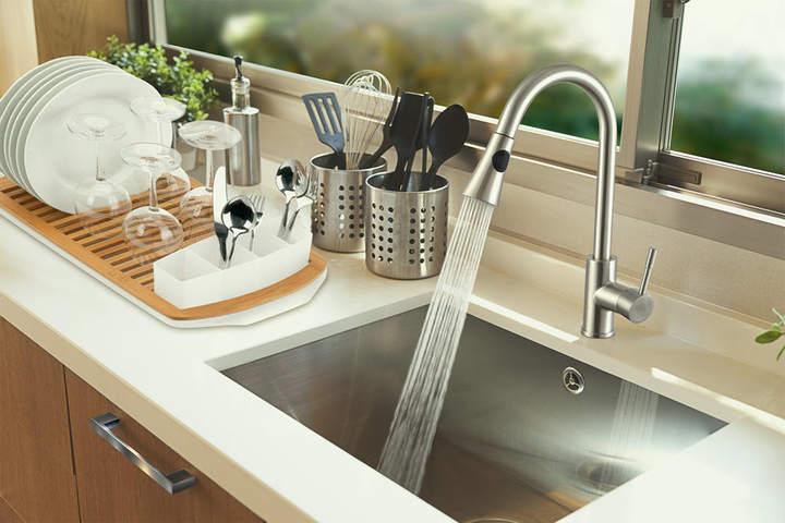 Brushed Nickel Kitchen Sink Faucet