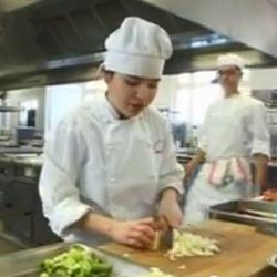 Culinary student working in the kitchen