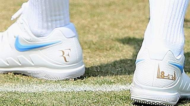 Federer's NIKE shoes at Wimbledon 2018