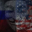 Anonymous mask over Russian and US flag