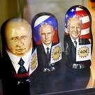 Russian dolls with images of Putin and Trump