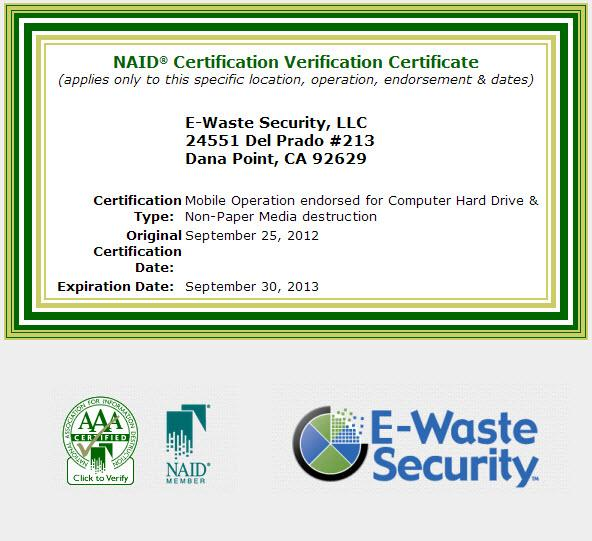 Ewaste Security Gains Dual Naid Aaa Certification For