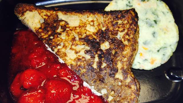 Stuffed Whole Grain French Toast with Strawberry Compote